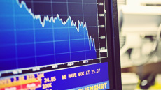 Stock market graph on screen