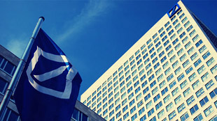 Deutsche bank head office Flag banner 2