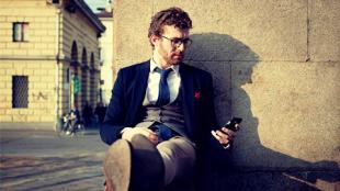 hipster suit with phone