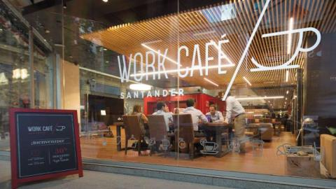 Santander transforms shuttered branch into 'Work Cafe'