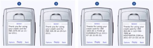 SMS Alerts From Two Banks