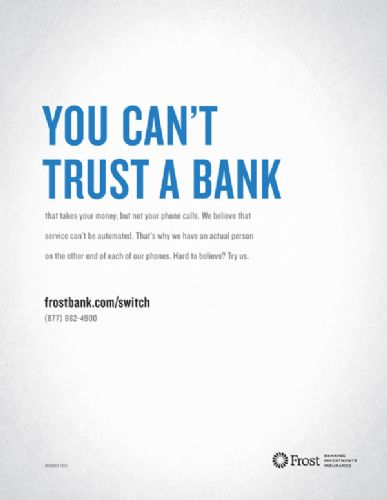 Trust is a common theme in bank advertising