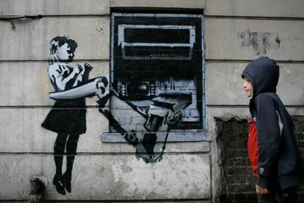 ATM Girl by Banksy and a Generation Z payment systems user
